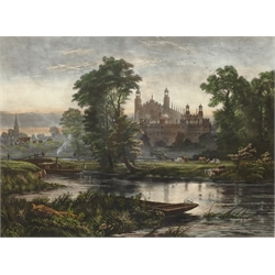 After Robert Gallon (British 1845-1925): 'Eton from the Thames', hand-coloured mezzotint by JA Edwards pub. London 1888, 61cm x 76cm