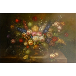 Dutch School (20th century): Still Life of Flowers, oil on board unsigned 98cm x 146cm