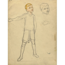 Atrib. Margaret Winifred Tarrant (British 1888-1959): Study of a Young Boy, pencil and watercolour unsigned 32cm x 24cm