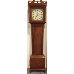Early 19th century 30 hour mahogany long case clock by T Gilbert of Beckley, swan neck pediment, enamel face with painted floral spandres, seconds ri