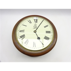 20th century George V GPO double-sided fusee clock, mahogany case, painted enamel face with Roman numeral dial, W38cm, D21cm