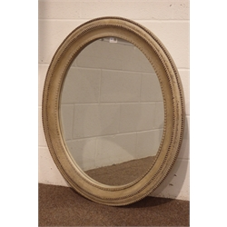 Stodard vintage cream oval wall mirror, 77cm x 92cm
