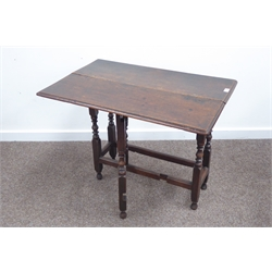 18th century oak side table, rectangular moulded top with single drop leaf, gate leg action, turned supports connected by shaped stretchers, W85cm, H72cm, D55cm (Max)