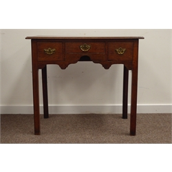 18th century oak lowboy side table, rectangular moulded top above 3 frieze drawers, shaped apron, on chamfered and reeded square supports, W83cm, H74cm, D48cm