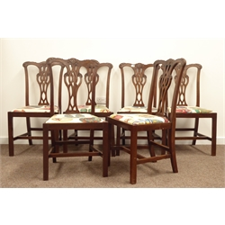 Six 19th century Chippendale style mahogany dining chairs, shaped and acanthus scroll carved cresting rails, pierced splat, drop in seat cushions, ra