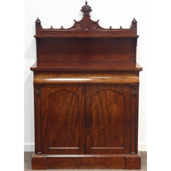 19th century mahogany Gothic Revival side board chiffonier, raised shelf back with shaped cresting on pierced scroll supports, base with concealed fr