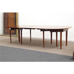 Late 19th century inlaid mahogany Sheraton style extending dining table, comprising two D end section with three centre leaves W284cm, H73cm, D137cm