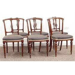 Set six Victorian walnut dining chairs, carved cresting rail, overstuffed seat cushions on turned and fluted front supports W44cm
