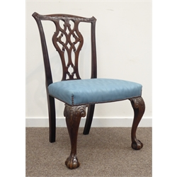 19th century Chippendale style mahogany side chair, shaped and acanthus carved cresting rail, open pierced and carved splat, with upholstered seat, a