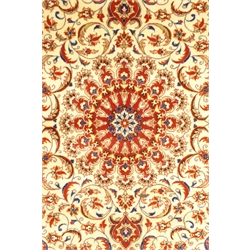 Persian fine tabriz red ground rug, central medallion on ivory field, interlaced foliate, guarded border with repeated stylised floral motif, 162cm x 108cm