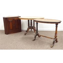 Victorian walnut loo table, inlaid oval top above turned column base on acanthus carved cabriole supports, (W104cm) a similar walnut stretcher table