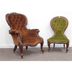 Victorian walnut framed armchair, scroll carved arm terminals on cabriole supports, upholstered in buttoned fabric, W74cm with Victorian spoon back n