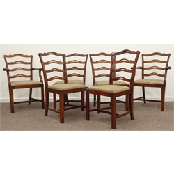 Set six 4+2 Georgian style mahogany ladder back dining chairs, shaped and pierced cresting and back rails, drop in upholstered seat cushion above squ