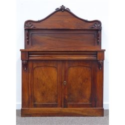 Victorian mahogany chiffonier sideboard, raised stepped arched back decorated with applied scrolled acanthus leaf moulding, open shelf, base with con