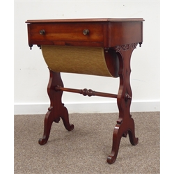Victorian walnut sewing work table, rectangular moulded top above single drawer with sliding basket well, raised on carved swept supports united by a