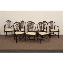 Eight (six + two) 20th century Hepplewhite style mahogany shield back dining chairs, shaped cresting rail, pierced splat, drop in upholstered seat cu