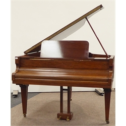 Danemamn 20th century mahogany baby grand piano, with Schwander action, raised on square tapering supports, 160cm x 142cm, H76cm
