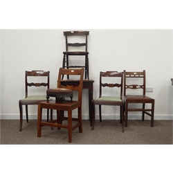 Early 20th century pine tile top table, moulded top above octagonal tapering supports, (H71cm) pair of regency mahogany dining chairs, tapered reeded