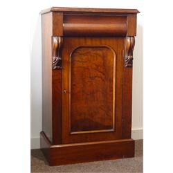 Victorian mahogany pedestal cupboard, moulded top above shaped frieze drawer, figured paneled door enclosed by scrolled corbels on plinth base W45cm,