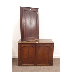 19th century oak two door paneled cupboard, (W100cm, H68cm, D50cm) and a Georgian oak hanging corner cupboard, W60cm