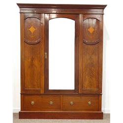 Edwardian inlaid mahogany wardrobe, arched bevelled glazed central door, panelled with satinwood lozenge inlay, two drawers to base, W158cm, H202cm,