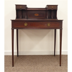 Edwardian mahogany bonheur du jour writing table, two small drawers above pigeon holes, enclosing open shelf pen tray, rectangular top above single f