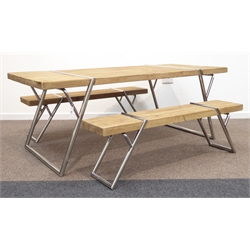Industrial style rectangular pine dining table on angular polished metal supports (202cm x 90cm, H75cm), and pair matching benches