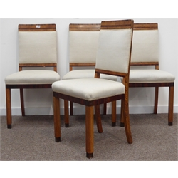 Set four Art Deco walnut chairs, banded top rail, cream upholstered back and seat, moulded front supports W50cm, H95cm, D43cm