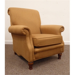 Greensmith 'Connaught' 20th century ash framed arm chair, upholstered in brown fabric, on turned front supports, W82cm
