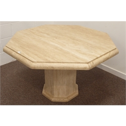 Modern Travertine pedestal table, octagonal moulded top on single paneled column, 120cm x 120cm, H75cm