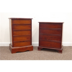 20th century mahogany bow front bedside chest, rectangular moulded and gadroon carved top above five drawers, on plinth base, (W47cm) and a similar f