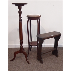 Late 19th century mahogany torch(H124cm) an Edwardian inlaid mahogany plant stand, (H98cm) and a small oak wall stretcher table, (H59cm)