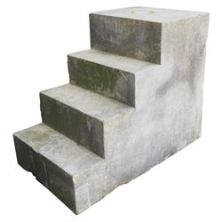 York stone mounting block, with four steps, 110cm x 63cm, H88cm