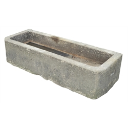 Medium York stone trough, hewn from a single piece of stone, 133cm x 47cm, H31cm