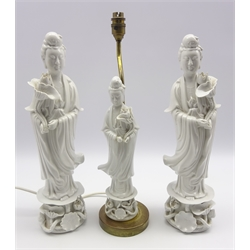 Pair of 20th Century Blanc de Chine figures of Kuan Yin H40cm and a matching table lamp H45cm overall