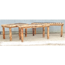 Three slatted pine potting tables, 188cm x 65cm, H77cm, 167cm x 65cm, H77cm and 130cm x 80cm, H77cm