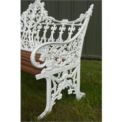 Coalbrookdale style white painted cast metal garden bench with teak slats and central shield motif, W148cm