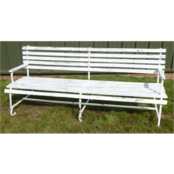 White painted wrought metal bench, with slatted back and seat, W193cm