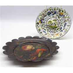 Early 19th Century earthenware plate with landscape and flowers, possibly Ferrybridge D16cm and a Tole ware plate painted with bird, flowers etc D17c