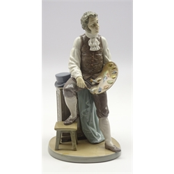 Lladro figure 'Artistic Endeavour' artist holding a palette with his foot on a stool no. 5234 H29cm