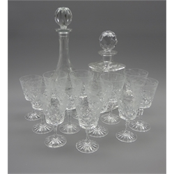 Set of 8 cut and etched claret glasses, 4 matching sherry glasses and 2 decanters