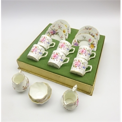 Set of 6 Royal Crown Derby 'Derby Posies' pattern coffee cans and saucers (boxed), matching cream jug and sugar bowl and a Coalport 'June Time' cream