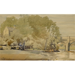 Frederick (Fred) Cecil Jones (British 1891-1966): Grassington Bridge Wharfedale, watercolour signed, titled and dated 1935, 20cm x 31cm