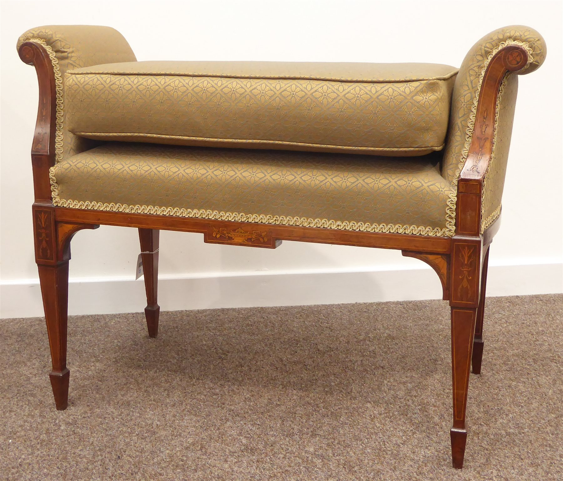 Edwardian Inlaid Rosewood Window Seat Scrolled Arms Upholstered In Patterned Fabric With Seat Cushion Square Tapering Supports With Spade Feet W86cm H65cm D39cm Antiques Fine Art Interiors