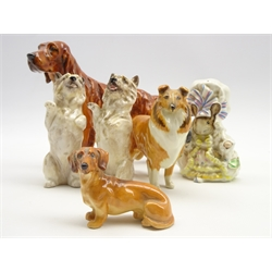 Beswick model of a collie dog No 1814, Beswick Beatrix Potter figure 'Lady Mouse' with gold backstamp, pair of Royal Doulton Cairn terriers, Royal Doulton Setter and a Doulton Daschund (6)