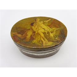 18th Century Vernis Martin oval snuff box, the silver mounted hinged cover painted with Leda and the Swan, the base with The Temple of Zeus W8.5cm H4.5cm