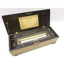 Late 19th Century Swiss 8-air musical box with comb and cylinder movement, lithographed tune sheet in a walnut case 57cm x 22cm x 15cm