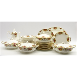 Extensive Royal Albert 'Old Country Roses' table service for dinner, coffee and tea including 4 vegetable dishes and covers, 12 dinner and dessert plates, tea and coffee pots etc 88 pieces