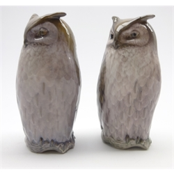 Pair of Royal Copenhagen owl ornaments No. 2999 H15cm, designed by Theodor Madsen