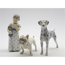 Royal Copenhagen model of a Dalmation No. 3501, a Copenhagen figure of a girl with a doll H15cm No. 3539 and a Bing and Grondahl Bulldog No. 1676
